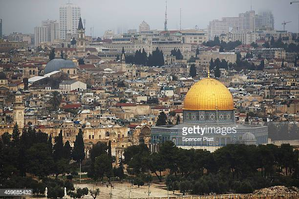 The Dome of the Rock is viewed at the Al-Aqsa mosque compound in the Old City on November 27, 2014 in Jerusalem, Israel. The Dome of the Rock is the...
