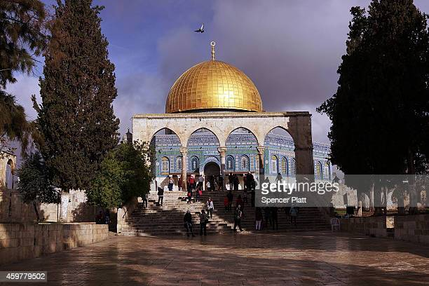 The Dome of the Rock is viewed at the AlAqsa mosque compound in the Old City on December 01 2014 in Jerusalem Israel The Dome of the Rock is the...