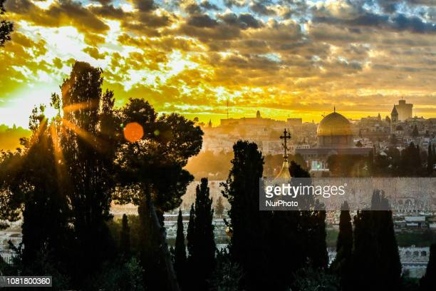The Dome of the Rock mosque is seen during the sunset at the alAqsa mosque compound Islam's third holiest site in Jerusalem's Old City on