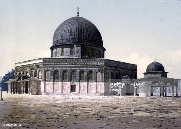 The Dome of the Rock shrine located on the Temple Mount in the Old City of Jerusalem Photographed in 1910 The Mosque was completed in 691 CE the rock...