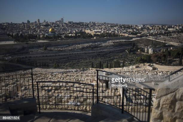 The Dome of The Rock sits on Temple Mount in the Old City seen from the Mount of Olives cemetery in East Jerusalem Israel on Saturday Dec 16 2017 The...