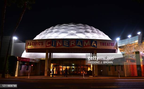 The dome remains lit up at the now closed Arclight Cinema on Sunset Boulevard in Hollywood, California on May 5, 2020 where tens of thousands of...