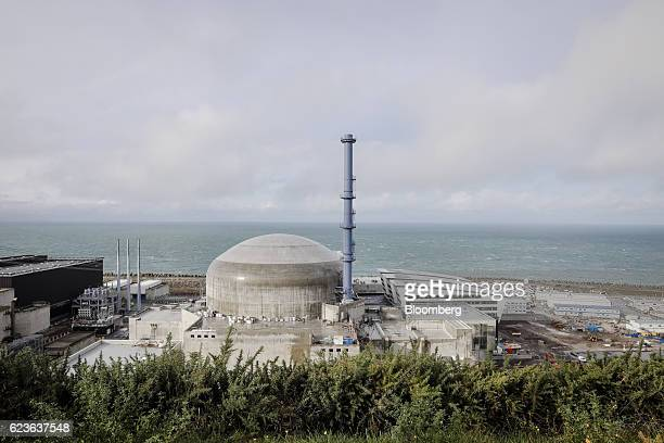 The domed containment building stands as construction work continues on the Evolutionary Power Reactor nuclear power plant operated by Electricite de...
