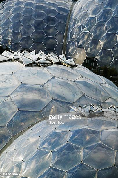 The domes of the two conservatories at the Eden Project, nr St Austell, Cornwall, Great Britain.