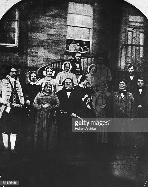 The domestic staff at Erdigg Hall, the home of the Yorke family in Wrexham, North Wales, 1852. They are head gardener James Phillips, coachman Edward...