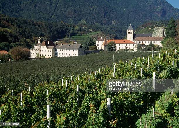The Dominican abbey of Neustift, founded in 12th century, with vineyards in the foreground, Varna, Trentino-Alto Adige, Italy.