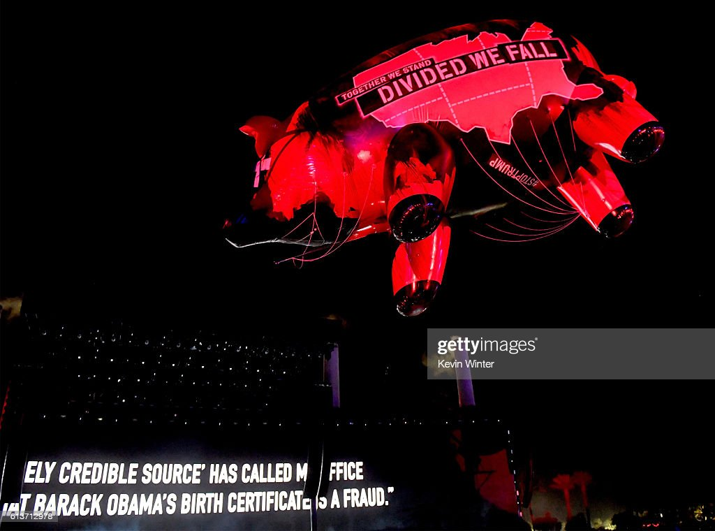 The Donald Trump Pig floats over the crowd during the Roger Waters performance during Desert Trip at the Empire Polo Field on October 9, 2016 in Indio, California.