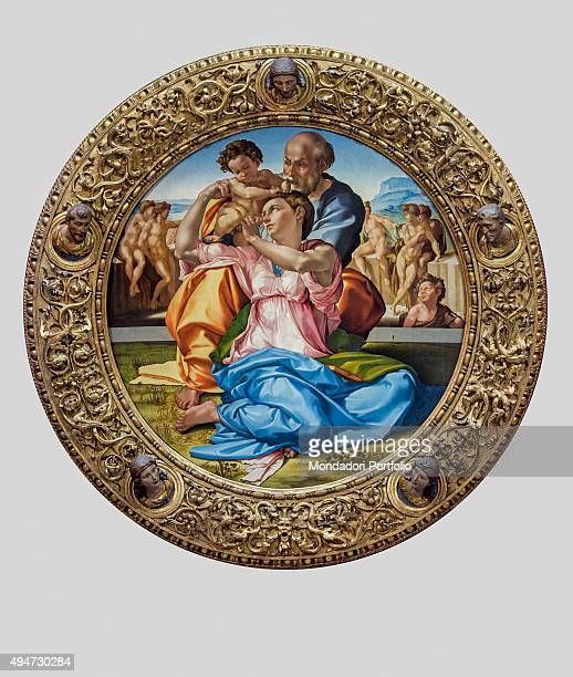 The Doni Tondo or Doni Madonna by Michelangelo Buonarroti 15031504 16th Century tempera on board 120 x 120 cm Italy Tuscany Florence Uffizi Gallery...