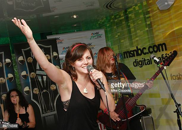The Donnas lead singer Brett Anderson performs at the NBC Experience Store as part of the Gibson Sessions on August 13 2009 in New York City