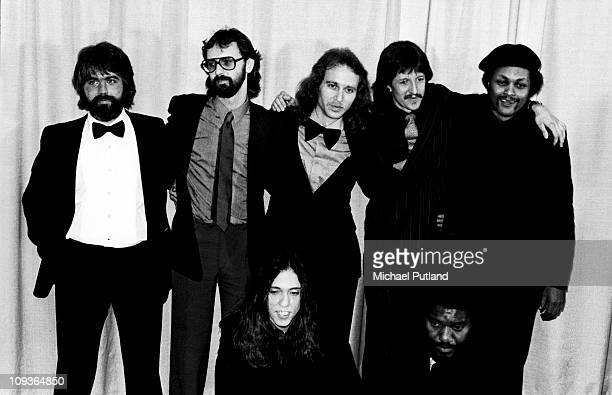 The Doobie Brothers group portrait at the 1980 Grammy Awards New York February 1980 LR Michael McDonald Chet McCracken Keith Knudsen Patrick Simmons...