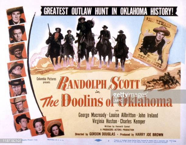 The Doolins Of Oklahoma poster left from top Randolph Scott John Ireland Noah Beery Jr Charles Kemper Frank Fenton George Macready Jock Mahoney...