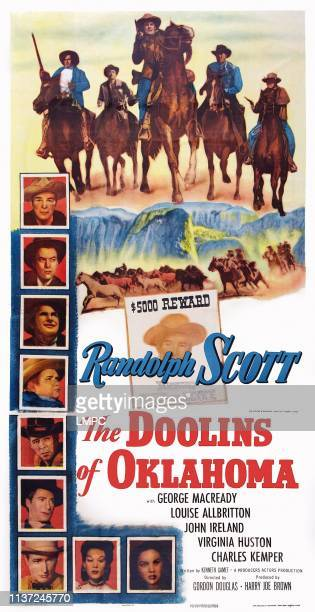 The Doolins Of Oklahoma poster poster art left from top Randolph Scott John Ireland Noah Beery Jr Charles Kemper Frank Fenton George Macready Jock...