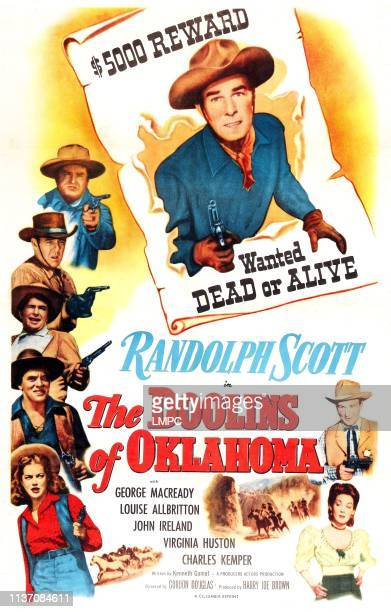 The Doolins Of Oklahoma poster US poster from top Randolph Scott Charles Kemper Frank Fenton Noah Beery Jr John Ireland Dona Drake Louise Allbritton...