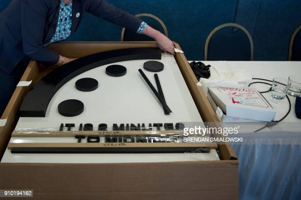 The Doomsday clock is seen after members of the Bulletin of the Atomic Scientists moved it 30 seconds closer to the end of the world January 25 2018...