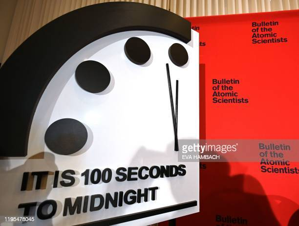 The Doomsday Clock reads 100 seconds to midnight a decision made by The Bulletin of Atomic Scientists during an announcement at the National Press...