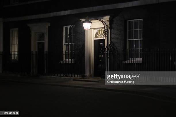 The door lamp shines over the door of 10 Downing Street on March 28, 2017 in London, England. Article 50 will be triggered on March 29, and the...