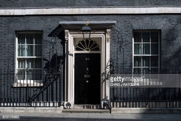The door of 10 Downing Street is seen in central London on April 19 2017 British Prime Minister Theresa May called on April 18 for a snap election on...