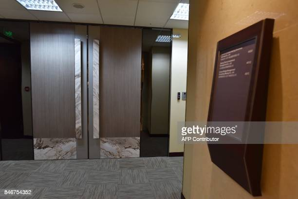 The door of a Canyon Bridge office is seen in Beijing on September 14 2017 US President Donald Trump on September 13 blocked attempts by a Chinese...