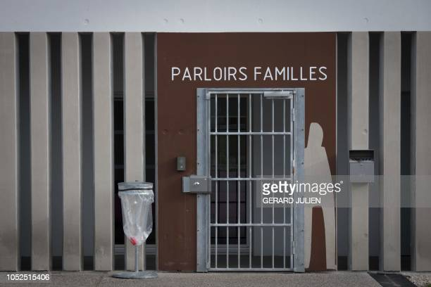 The door of inmates visiting rooms is pictured at the newly opened penitentiary of AixLuynes II southeastern France on October 18 2018