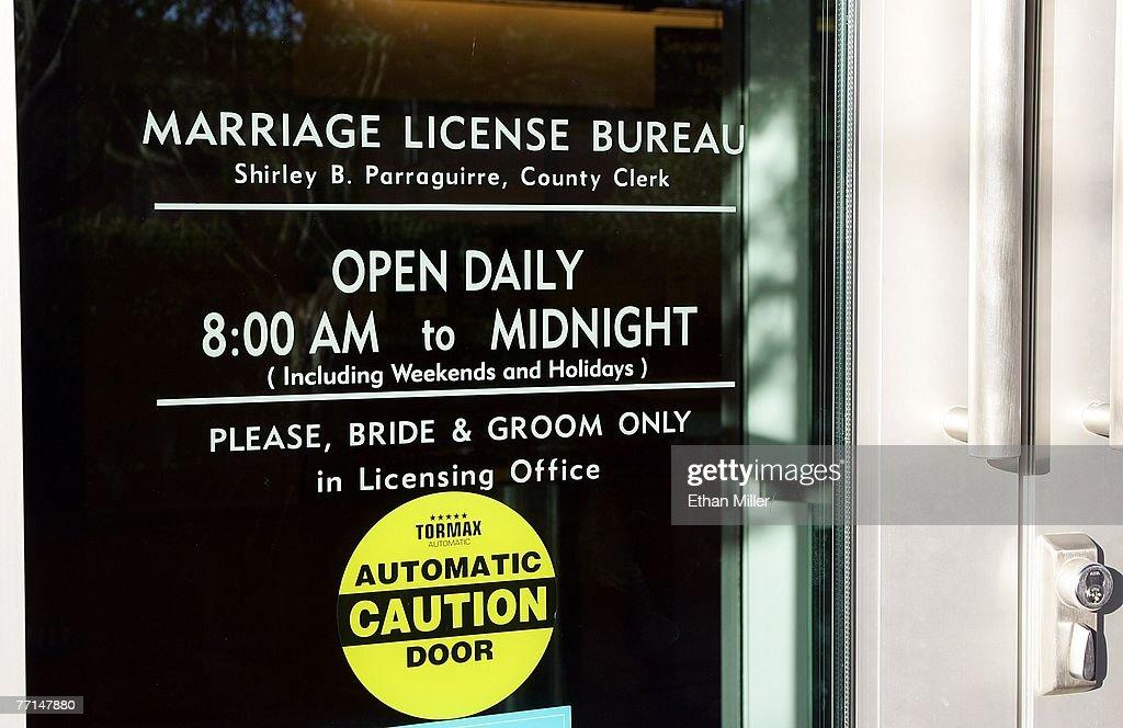 The door of the Clark County Clerk's Marriage Bureau at the Clark