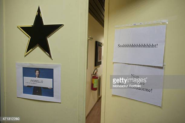 The door of the dressing room of the Italian show man Fiorello born Rosario Tindaro Fiorello in the backstage of his variety show Il pigrande...