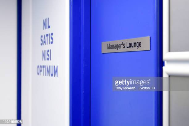 The door the manageru2019s office at Goodison Park before the Premier League match between Everton and Chelsea at Goodison Park on December 7 2019 in...