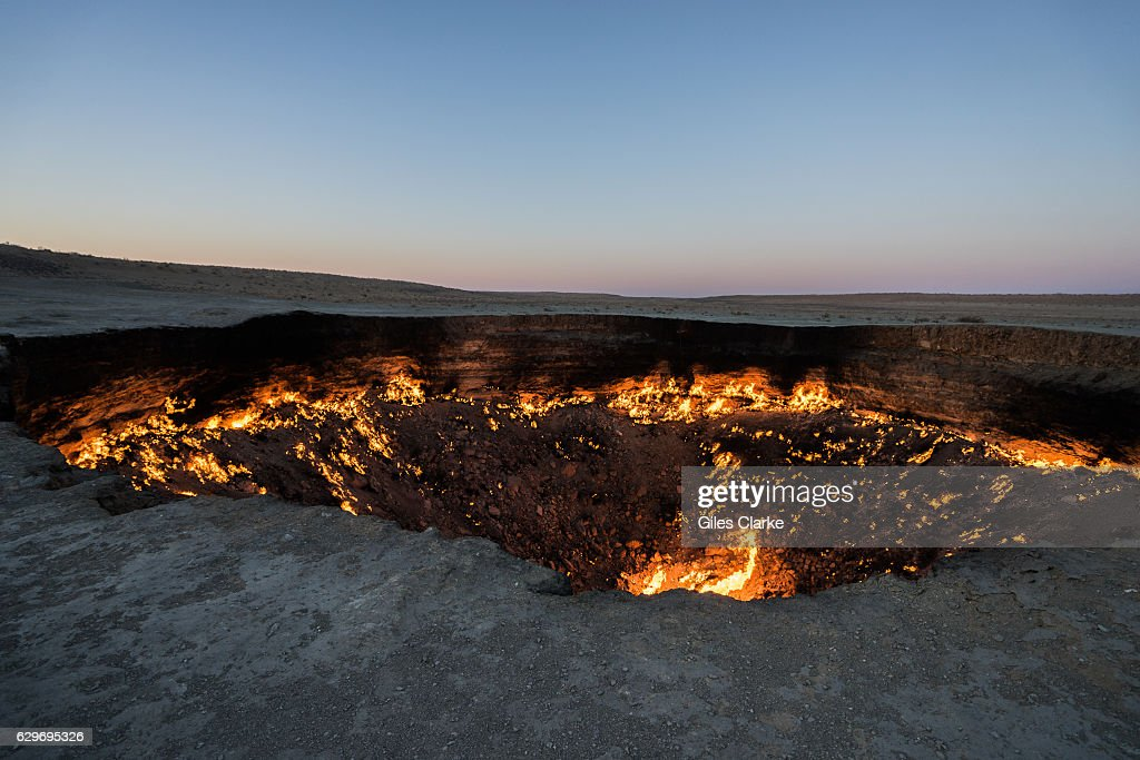 """Turkmenistan's """"Gateway to Hell"""" Crater : News Photo"""
