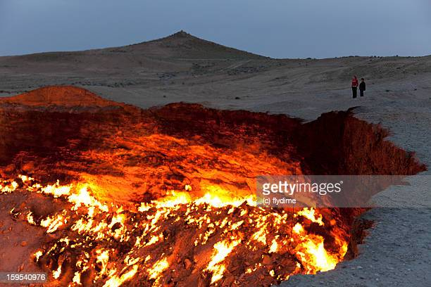 the door to hell / turkmenistan - sinkhole stock photos and pictures