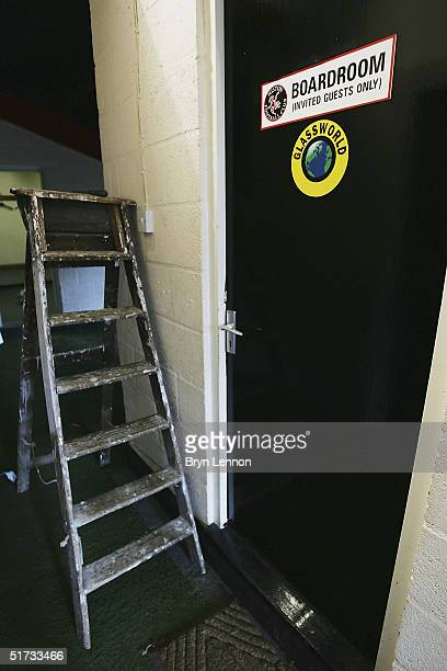 The door to the boardroom sign is seen at Histon's ground The Bridge prior to the FA Cup match between Histon FC and Shrewsbury Town on November 12...