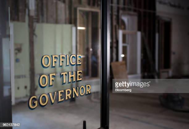 The door to the governor's office is seen during renovations of the New Jersey State Capitol building in Trenton New Jersey US on Thursday May 14...