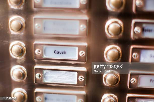 The doorbell at the building that houses the flat of Joachim Gauck is pictured on March 13 2012 at Berlin Germany Joachim Gauck who will likely be...