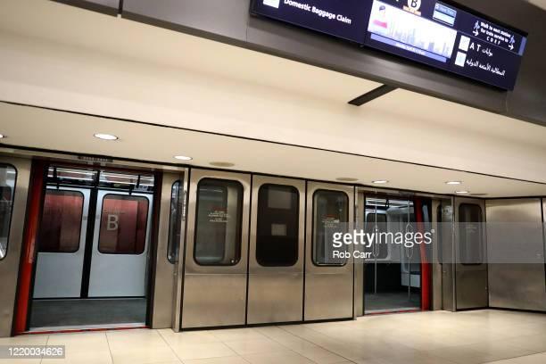 The doors open on a tram between terminals at HartsfieldJackson Atlanta International Airport on April 20 2020 in Atlanta Georgia The airline...