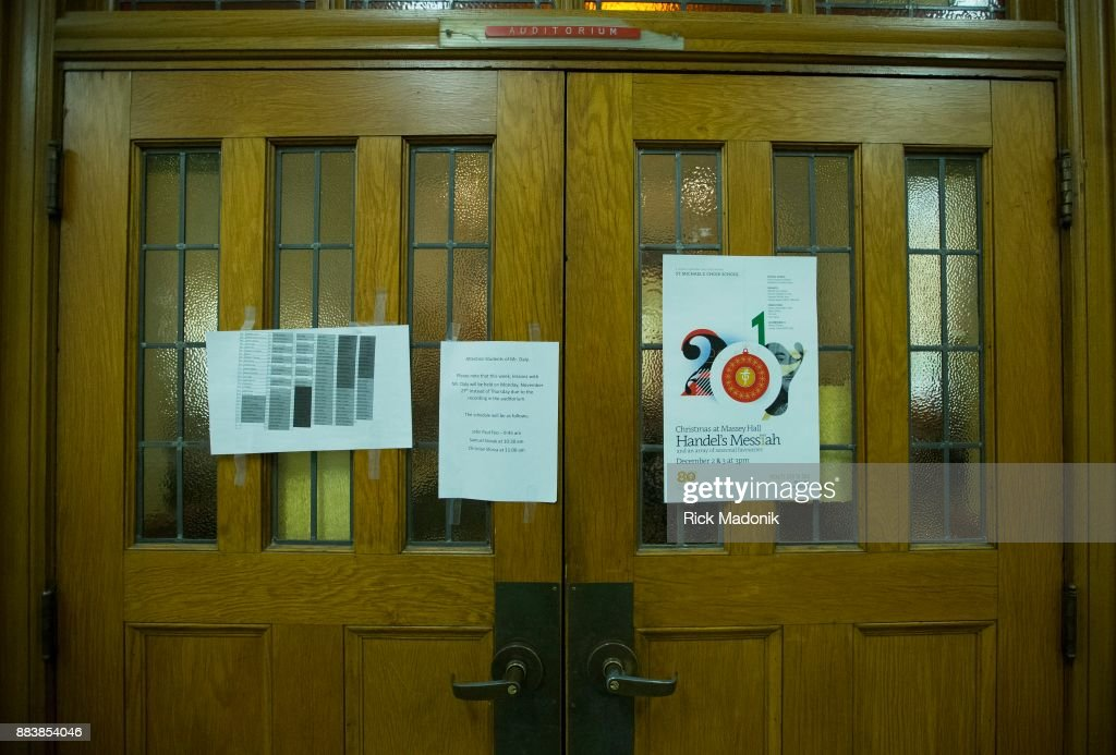 The doors to the auditorium with class notes and a p&hlet about the upcoming concert. & St. Michaelu0027s Choir School Pictures | Getty Images
