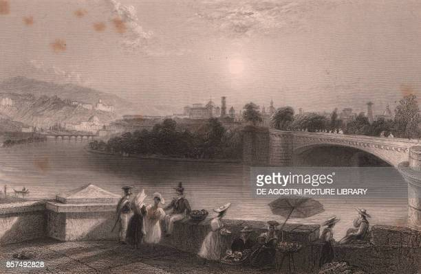 The Dora Riparia river in Turin Piedmont Italy steel engraving 185x14 cm from The Waldenses or Protestant valleys of Piedmont Dauphiny and the Ban de...