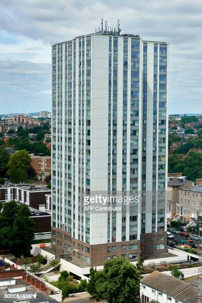 The Dorney residential tower block is seen on the Chalcots Estate in north London on June 23 2017 Tower blocks housing thousands of people across...