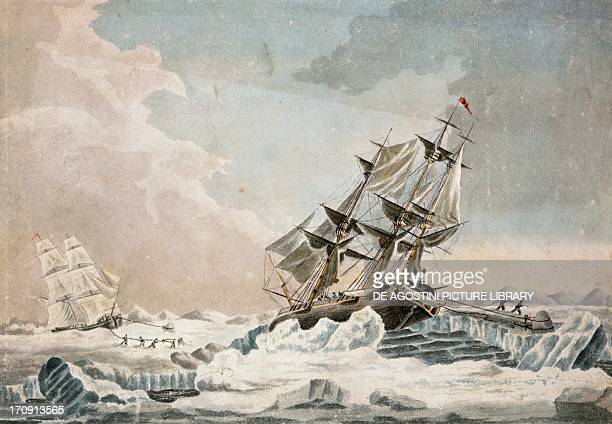 The Dorothea stuck on the ice off the coast of Spitsbergen June 10 engraving Arctic 19th century