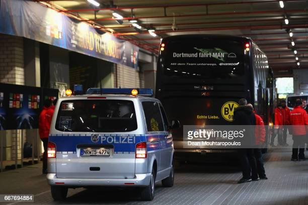 The Dortmund team coach arrives for the UEFA Champions League Quarter Final first leg match between Borussia Dortmund and AS Monaco at Signal Iduna...