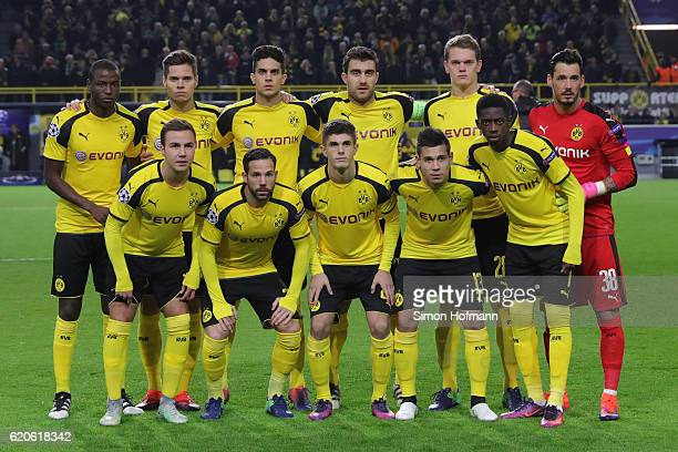 The Dortmund team line up prior to the UEFA Champions League Group F match between Borussia Dortmund and Sporting Clube de Portugal at Signal Iduna...