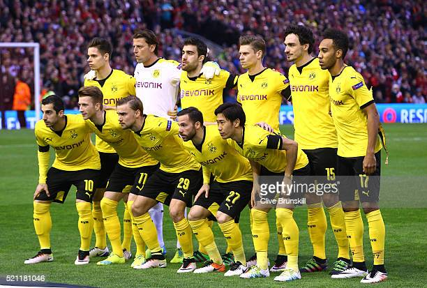 The Dortmund team pose during the UEFA Europa League quarter final second leg match between Liverpool and Borussia Dortmund at Anfield on April 14...