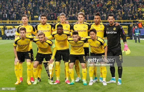 The Dortmund team pose prior to the UEFA Champions League Quarter Final first leg match between Borussia Dortmund and AS Monaco at Signal Iduna Park...