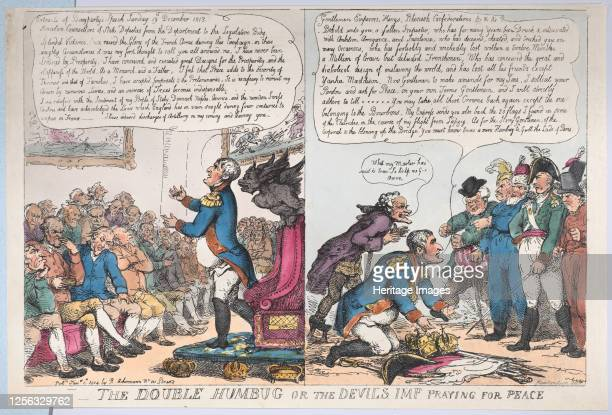 The Double Humbug or the Devils Imp Praying for Peace January 1 1814 Artist Thomas Rowlandson