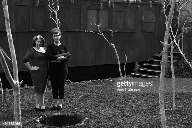 The Double R Club actors Rose Thorne and Jo Gilliver pose near the recreated train car from a reenactment of Laura Palmer's murder from Twin Peaks...