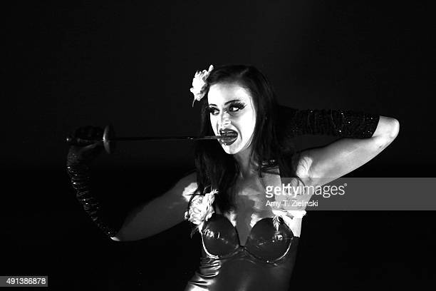 The Double R Club cabaret actress Snake Fervor performs during the sixth annual Twin Peaks UK Festival at Genesis Cinema on October 4 2015 in London...