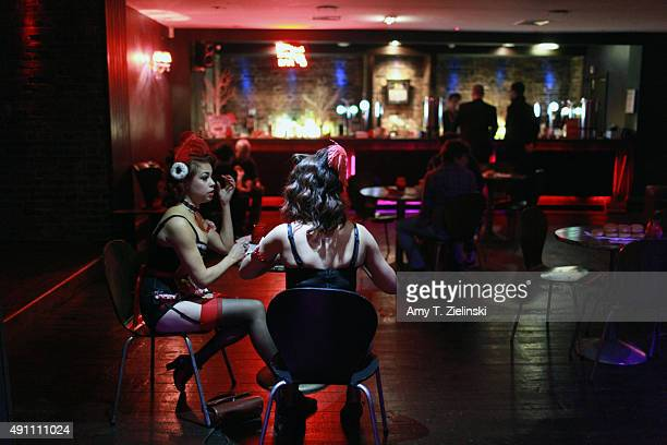 The Double R Club cabaret actresses Yvonna and Louise Holland dressed as characters from OneEyed Jack's a brothel featured in Twin Peaks TV show sit...