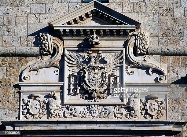 The double-headed eagle, emblem of the House of Austria, detail of the entrance to Forte Spagnolo , L'Aquila, Abruzzo, Italy.