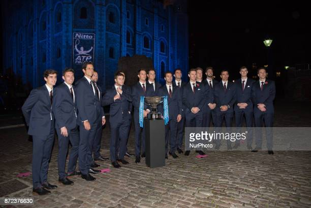 The Doubles players line up by the trophy during the The Official Launch ATP Finals at Tower of London on November 9 2017