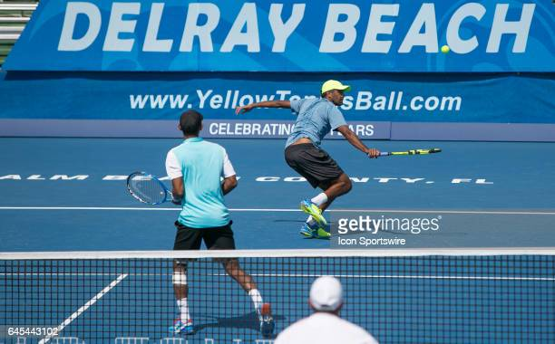 The doubles team of Raven Klaasen and Rajeev Ram defeat Jonathan Erich and Scott Lipsky during the Doubles Semifinal of the ATP Delray Beach Open on...