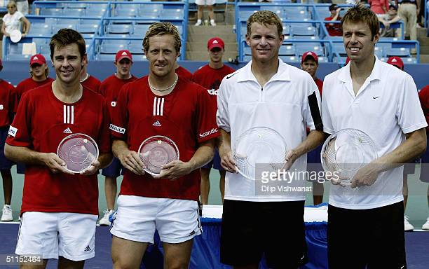 The doubles team of Todd Woodbridge of Australia and Jonas Bjorkman of Sweden and the team of Mark Knowles of the Bahamas and Daniel Nestor of Canada...