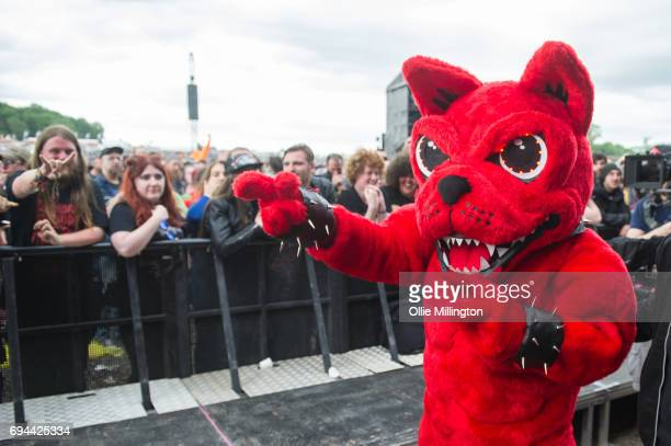The Download dog meets the crowd during Day 1 of Download Festival at Donnington Park on June 9 2017 in Donnington England