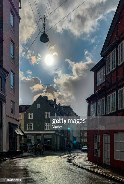 the downtown after a rain i, copenhagen, denmark - vsojoy stock pictures, royalty-free photos & images